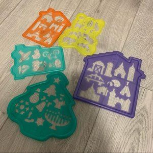 Set of five stencil animal, cars, house and tree